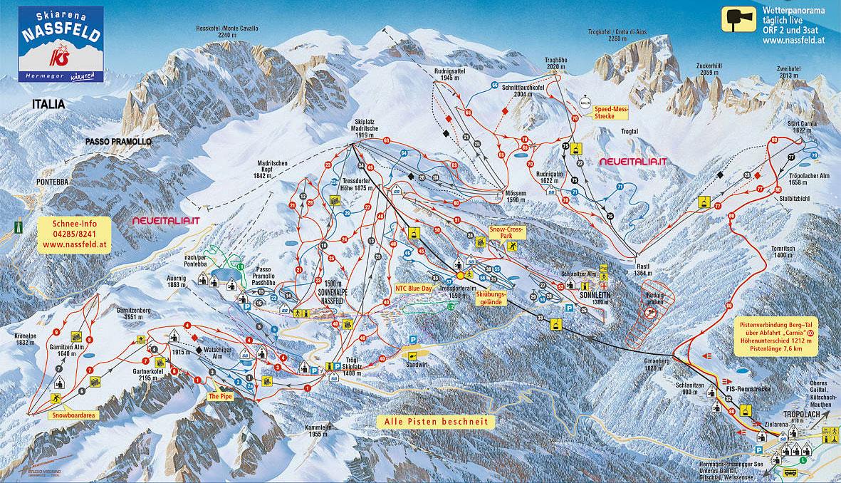 Mappa impianti e cartina delle piste. Skirama Passo Pramollo Nassfeld