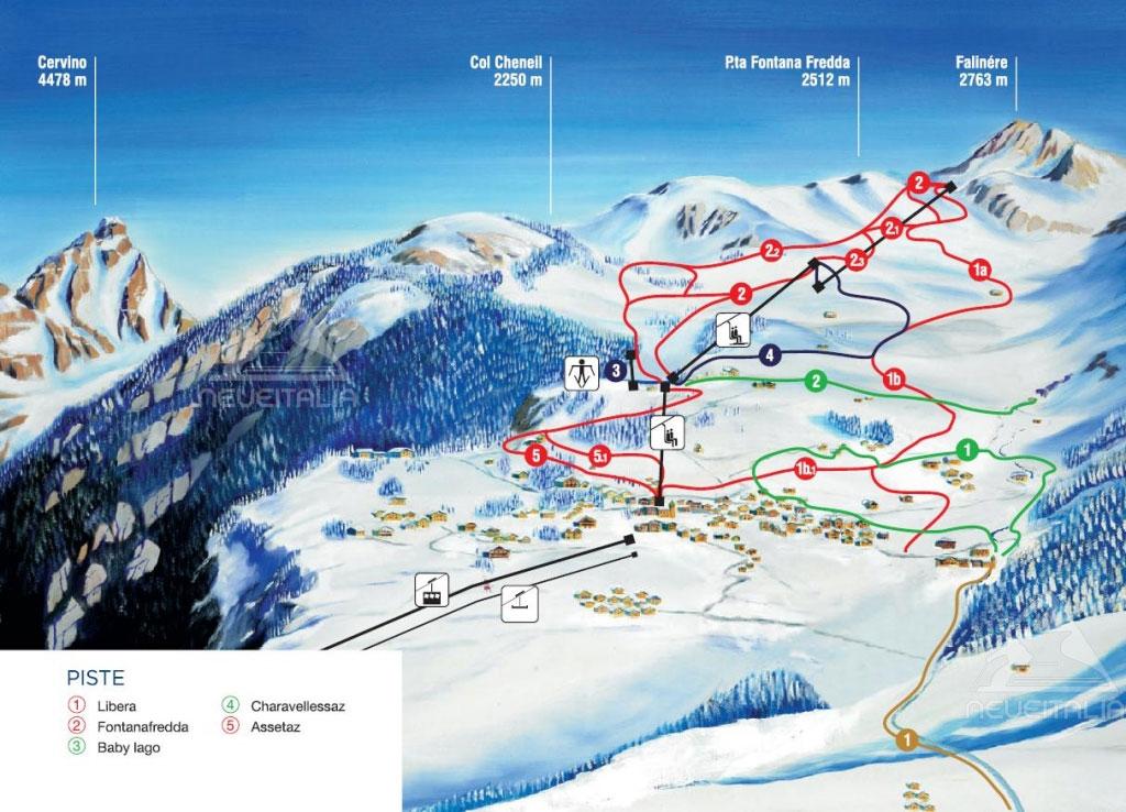 mappa impianti e cartina delle piste  skirama chamois