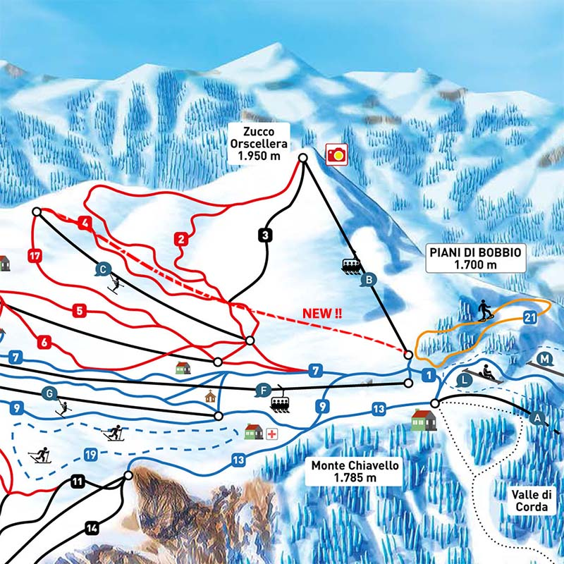 Slopes and lift skirama piani di bobbio valtorta valsassina for Piani di palazzi di 2 piani