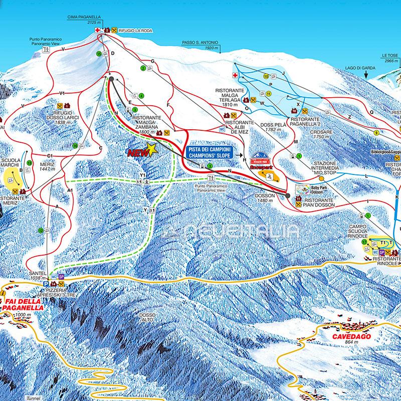 Mappa impianti e cartina delle piste Skirama Paganella Andalo Fai