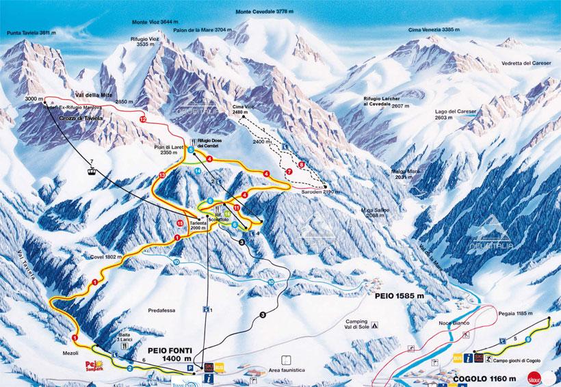 Mappa Impianti E Cartina Delle Piste Skirama Pejo Val Di Sole