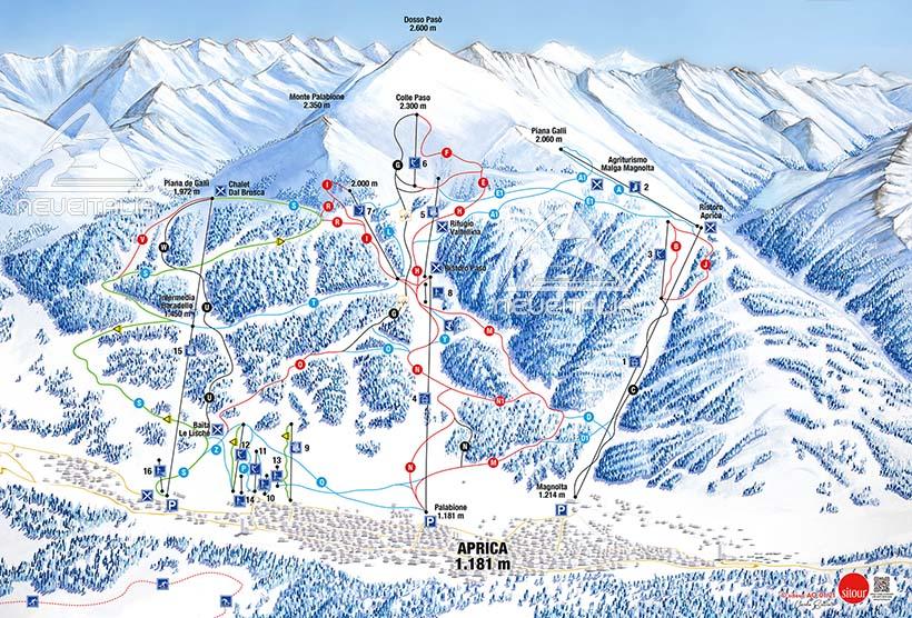 Mappa Impianti E Cartina Delle Piste Skirama Aprica