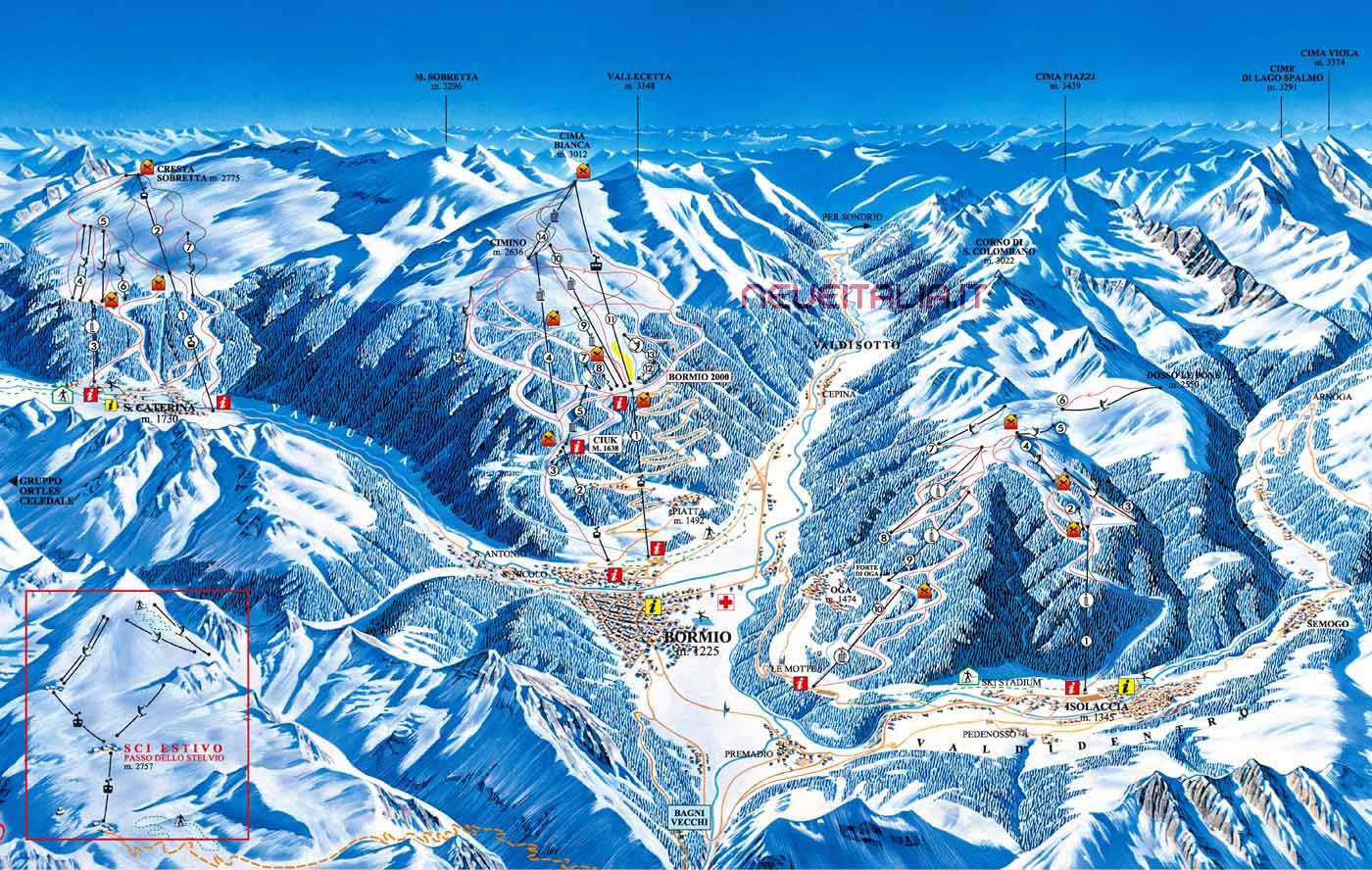 Mappa Impianti E Cartina Delle Piste Skirama Bormio Alta Valtellina