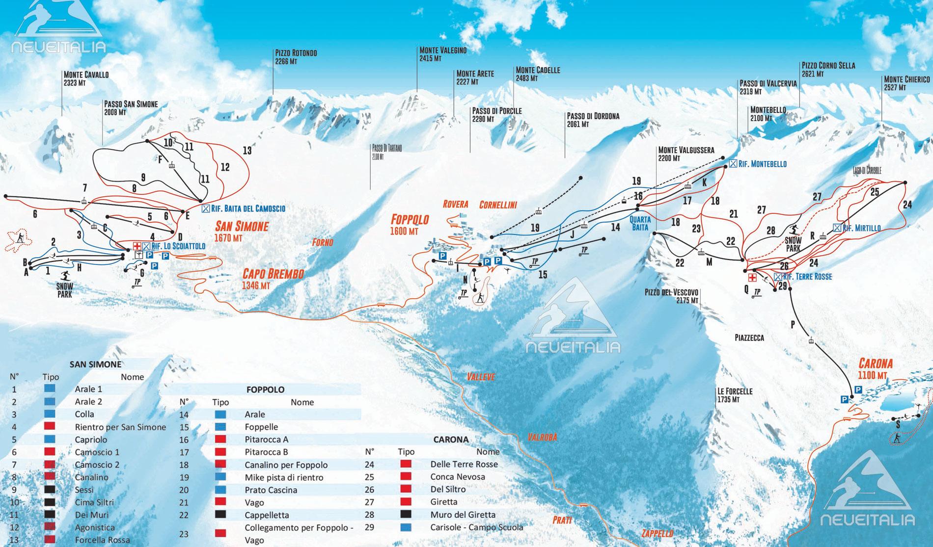 Mappa Impianti E Cartina Delle Piste Skirama Brembo Ski Foppolo