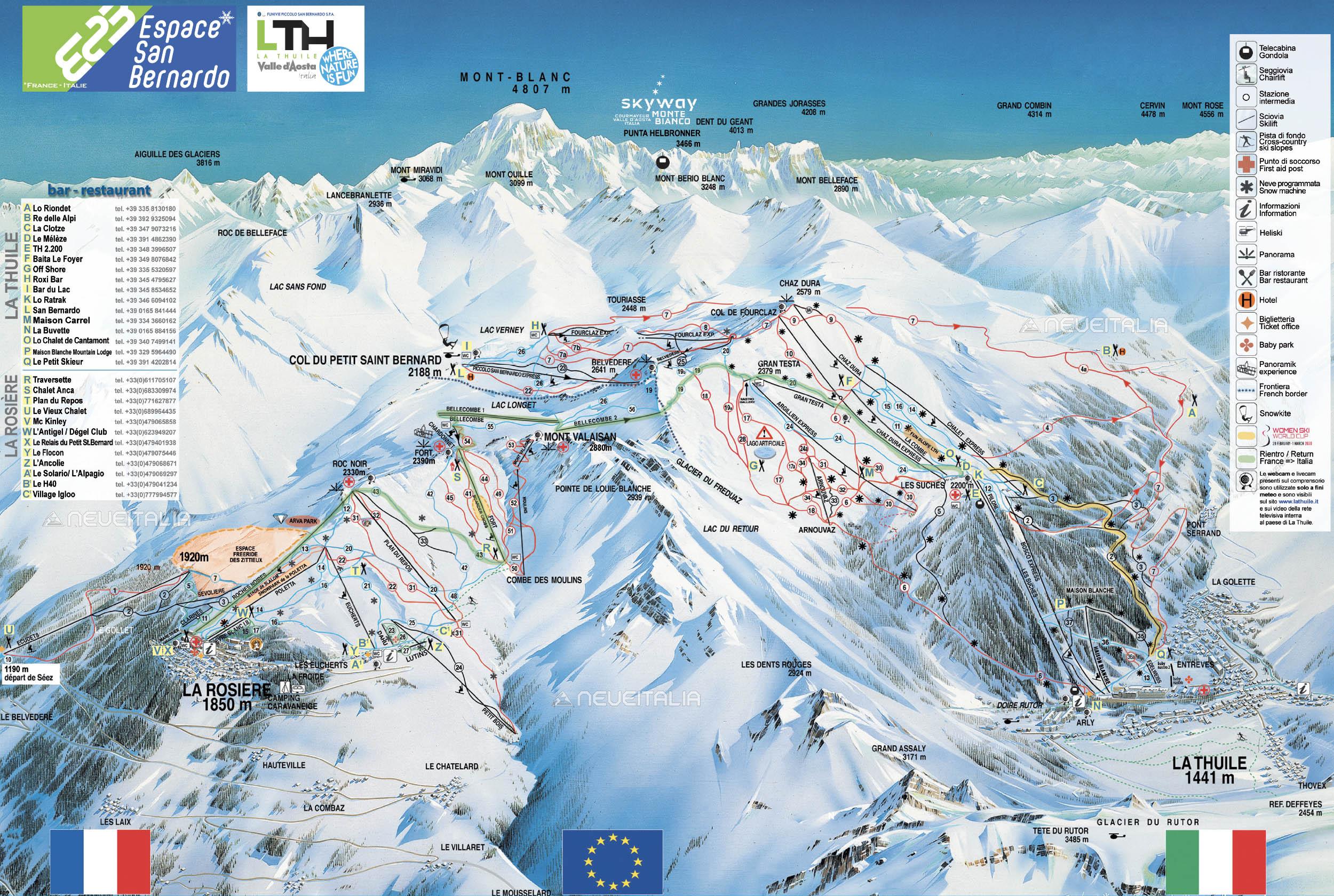 Mappa impianti e cartina delle piste. Skirama La Thuile La ...