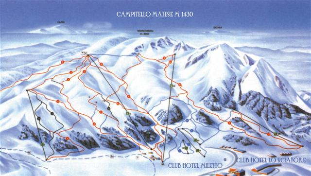 Mappa Impianti E Cartina Delle Piste Skirama Campitello Matese